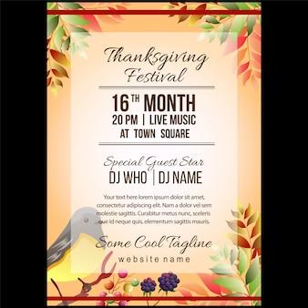 Herbst thanksgiving festival plakat vorlage mit singvogel