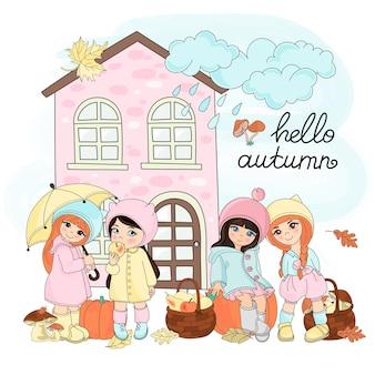 Herbst-vektor-illustration stellte farbe herbst-geschenke ein