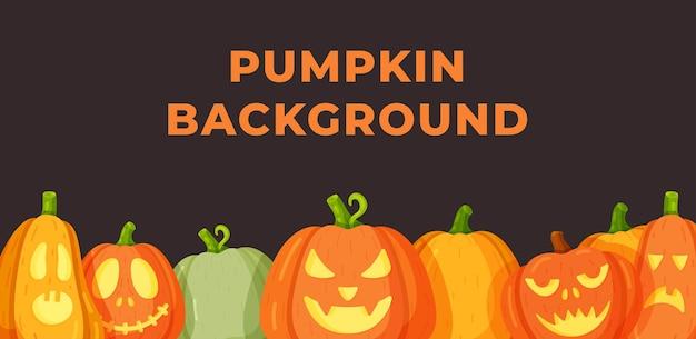 Herbst vektor orange kürbisse grenze design-vorlage für banner und thanksgiving-hintergründe. vektor-illustration von beängstigenden kürbissen. halloween. beängstigend, vollmond.