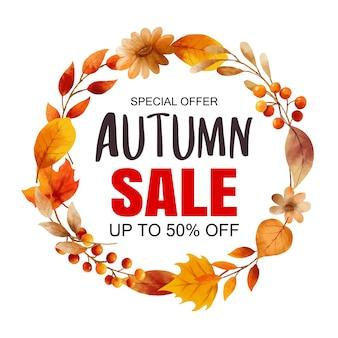 Herbst verkauf banner vorlage hintergrund. herbsteinkaufsverkauf mit blattrahmen und -text.