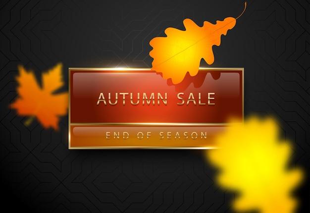 Herbst-verkauf-vektor-poster gelbes herbstlaub luxus-banner goldener text auf rotem etikett-goldrahmen