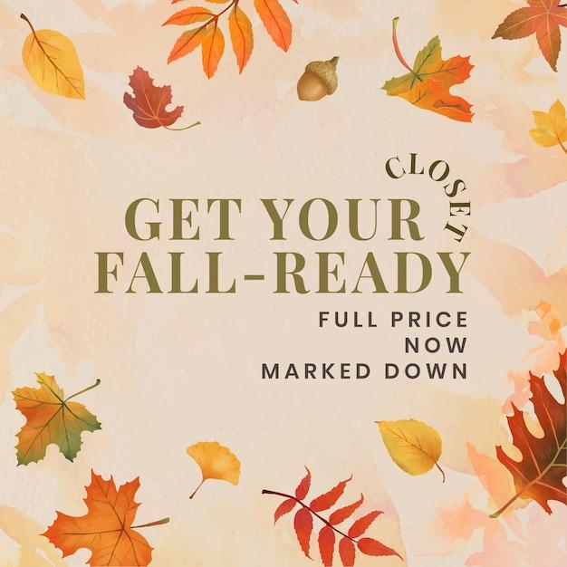 Herbst verkaufen vorlagenvektor für social media post