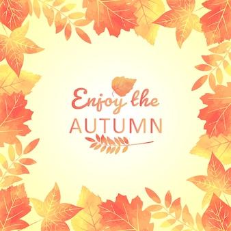 Herbst verlässt hintergrund mit aquarelleffekt