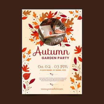 Herbst vertikale plakatvorlage mit foto