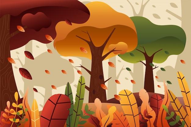 Herbst wald illustration hintergrund mit bäumen und blättern