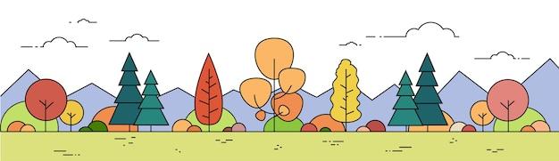 Herbst-waldberg-landschaftsfall-ansicht-dünne linie fahne