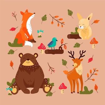 Herbst waldtiere gesetzt