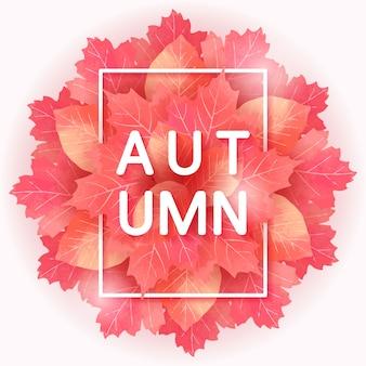 Herbst wort mit blättern hintergrund