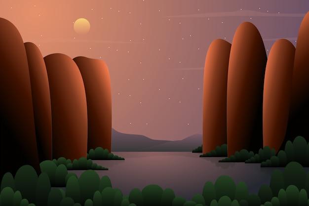 Herbstabhanglandschaft mit sternenklarer illustration des nächtlichen himmels