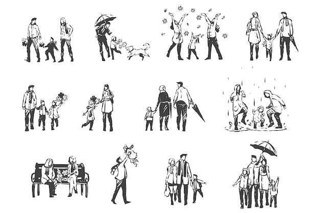 Herbstaktivitäten, menschen in der halbjahreszeit kleiderkonzeptskizze. regenwetter, laubfall, familienurlaub im park, eltern und kinder zusammen auf outdoor-spaziergang eingestellt. hand gezeichneter isolierter vektor