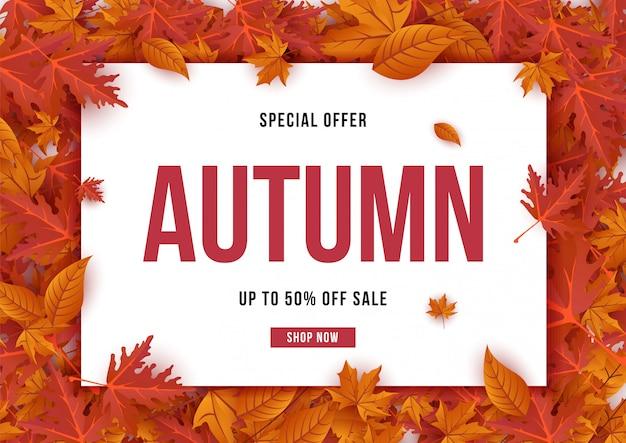Herbstangebotfahne mit blattillustration