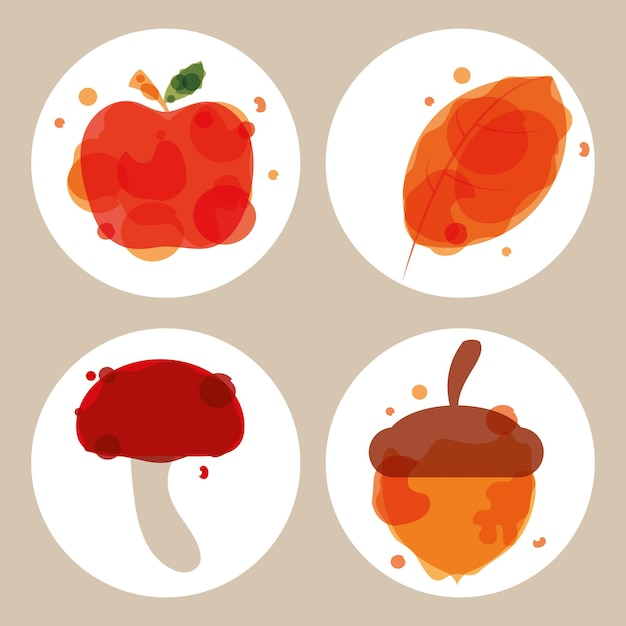 Herbstapfel und eichel mit pilz