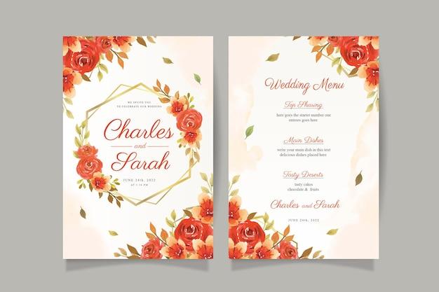 Herbstaquarell-hochzeitseinladungskarte mit rotem blumen- und goldenem rahmen