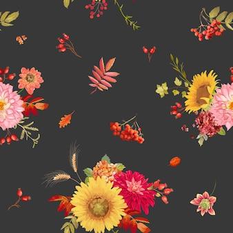 Herbstaquarellblumen nahtlose hintergrundillustration, retro-blumenvektorfall thanksgiving-muster für feiertage, modegewebe, textil, tapete mit beeren, hortensie, sonnenblume, blätter
