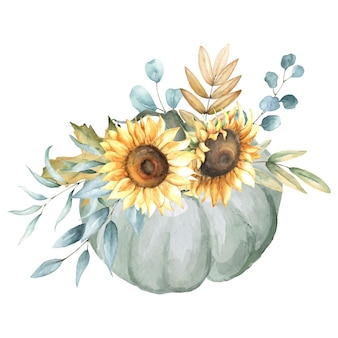 Herbstarrangement mit kürbis, sonnenblumen, herbstlaub.