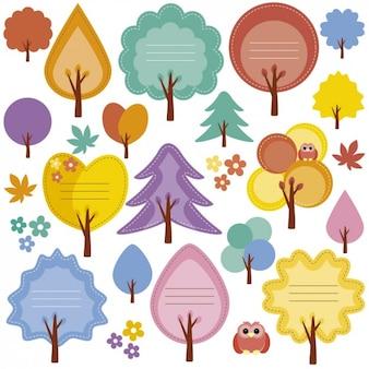 Herbstbäume etiketten