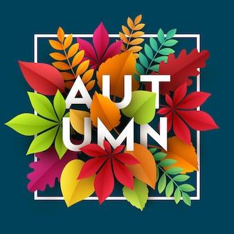Herbstbanner mit papierfallblättern
