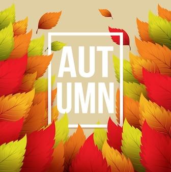 Herbstbanner mit rahmen und blättern