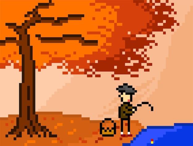 Herbstbaum und der fischer mit pixel-art-stil