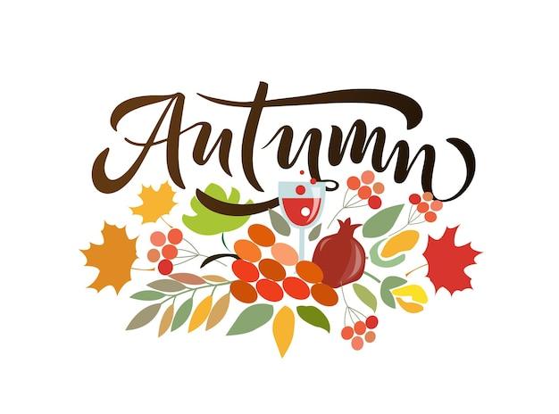 Herbstbeschriftungstypografie moderne herbstkalligraphie-vektorillustration auf strukturiertem hintergrund