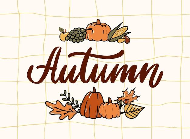 Herbstbeschriftungszitat verziert mit kritzeleien