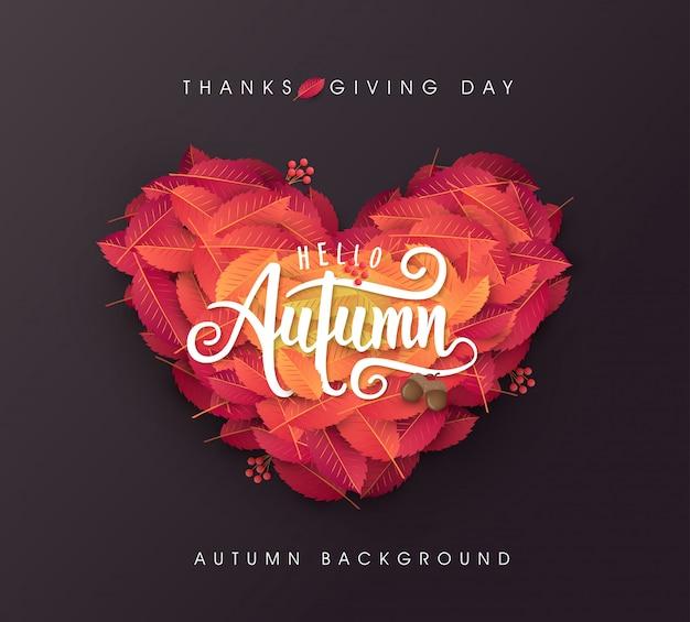 Herbstblätter herzformhintergrund. erntedank