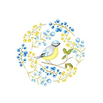 Herbstblatt, beeren und tomtit vögel rahmen isoliert. aquarell-vogel bluetit, der auf der gezeichneten zweighand sitzt.