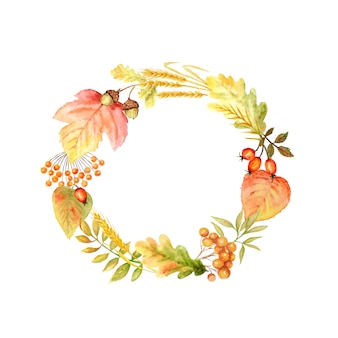 Herbstblatt heller rahmen. aquarellherbstblatthand gezeichnete illustration mit kopienraum.