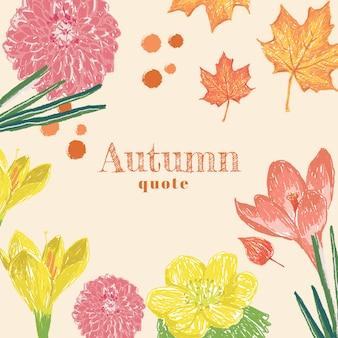 Herbstblume mit text