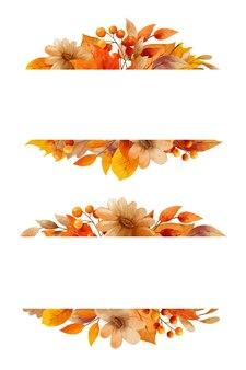 Herbstblumen- und -blätteraquarellart. kränze und rahmengrenze.