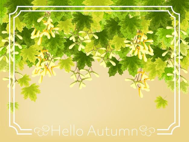 Herbstblumenhintergrund mit hallo herbsttext.