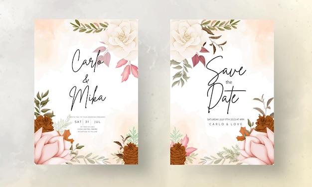 Herbstblumenhochzeitseinladungskarte mit rosen- und kiefernblüten