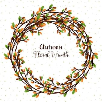 Herbstblumenkranz mit digitalem blumenaquarell