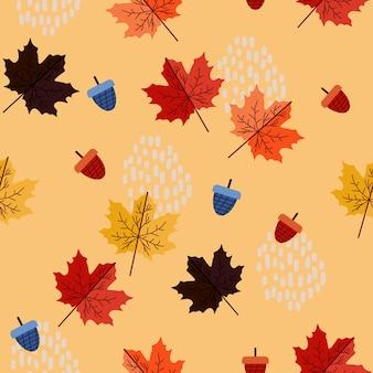 Herbstblumenmuster mit geometrischer zusammenfassung memphis