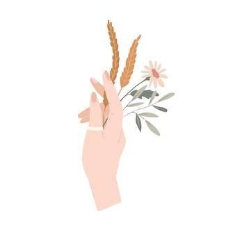 Herbstblumenzusammensetzung hand mit herbstblumen- und ohrenblumenstrauß vektorillustration