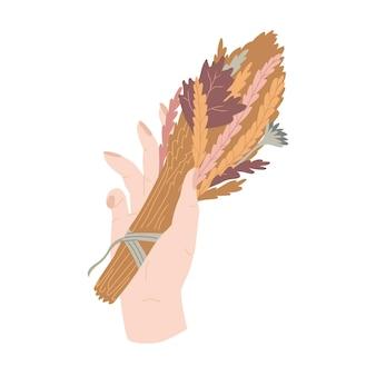 Herbstblumenzusammensetzung hand mit herbstblumen und ohrenblumenstrauß vektorillustration