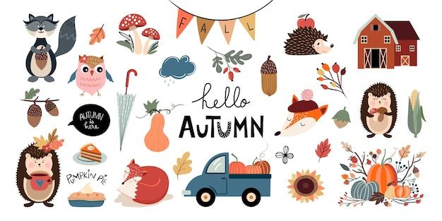 Herbstelementkollektion mit saisonalem design und farben