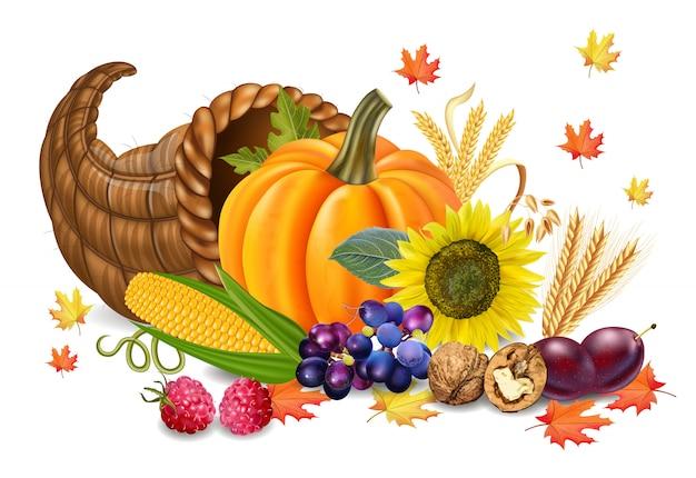Herbsternte mit kürbis und sonnenblume