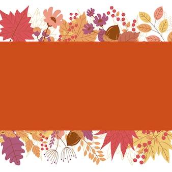 Herbstfahne auf blattfallhintergrund mit kopienraum