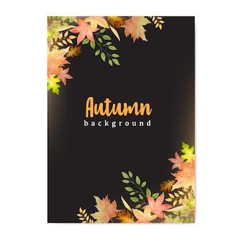 Herbstfahne mit buntem herbstlaubhintergrund
