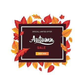 Herbstfahnen-saisonverkauf mit blattorange und roter quadratischer form