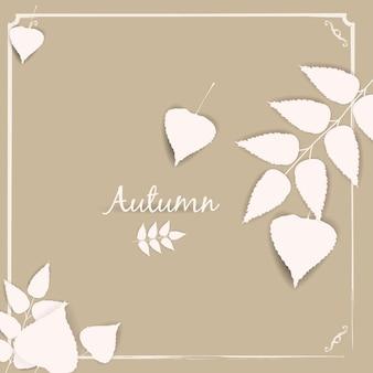 Herbstfahnenhintergrund mit papierfallblättern, schablone, vektor, illustration, lokalisiert