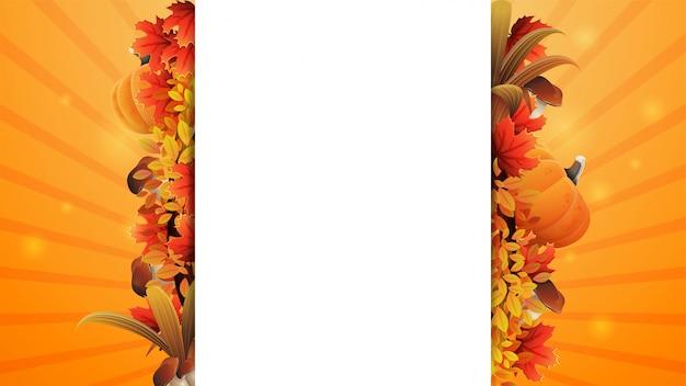 Herbstfahnenschablonenentwurf mit einem weißen großen streifen für text in den mittleren verzierten herbstelementen und herbstvegetation. leeres herbstlayout für ihre kreativität