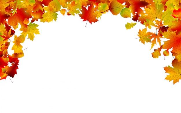 Herbstfarbene blätter rahmen ein.