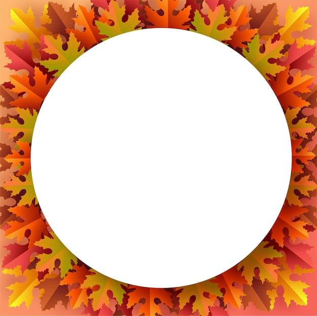 Herbstferien saisonaler hintergrund mit bunten herbstblättern auf farbigem hintergrund