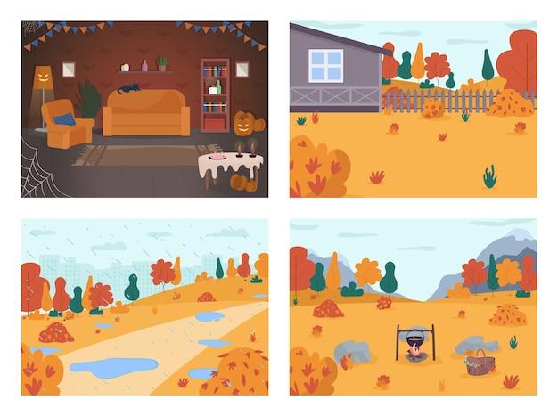Herbstferien szene halb flach eingestellt. halloween hausdekoration. hinterhof auf dem land. regenpark der stadt. picknick im wald. herbst 2d cartoon landschaft für die kommerzielle nutzung sammlung
