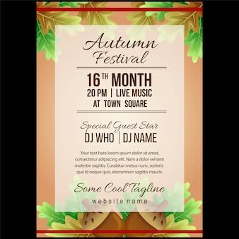 Herbstfestival-plakatschablone mit kanarischen nüssen