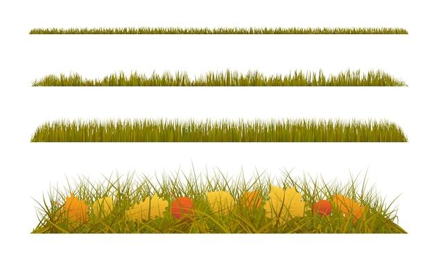 Herbstgras mit herbstblättern auf weißem hintergrund. satz herbstdekorationen.