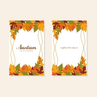 Herbstgutschein mit ahornblatt-vektorvorrat