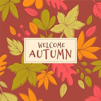Herbsthintergrund gezeichnet